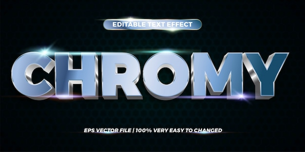 Teksteffect in chromy woorden teksteffect thema bewerkbaar metaal zilver concept