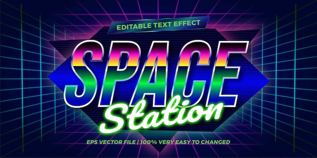 Teksteffect in neon retro station woorden teksteffect thema bewerkbare retro jaren 80 concept