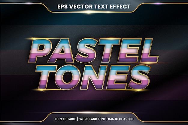 Teksteffect in pasteltintenwoorden, teksteffectthema bewerkbare kleurrijke pastel met metalen gouden kleurconcept