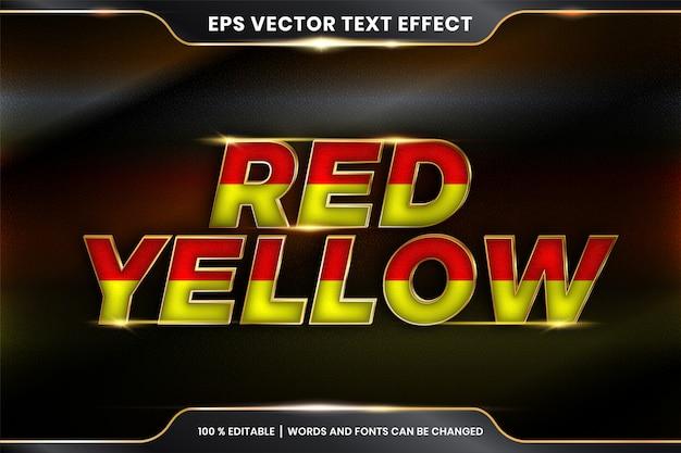 Teksteffect in roodgele woorden, teksteffectthema bewerkbare kleurrijke kleur met metaalgoudkleurconcept