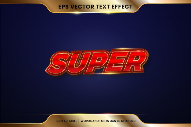 Teksteffect in superwoorden, lettertype-stijlthema bewerkbaar metaalrood en goudkleurconcept
