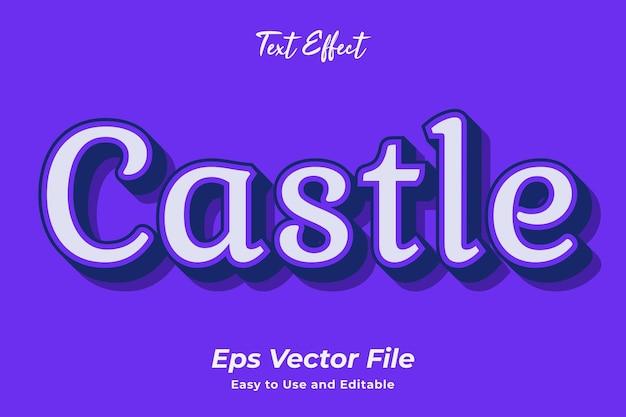 Teksteffect kasteel gebruiksvriendelijk en bewerkbaar premium vector