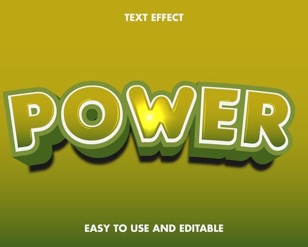 Teksteffect kracht. bewerkbare lettertypestijl.