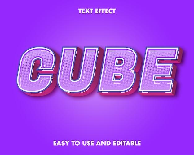 Teksteffect kubus. bewerkbare lettertypestijl.