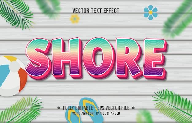 Teksteffect kustverloopstijl met zomerseizoenthema-achtergrond