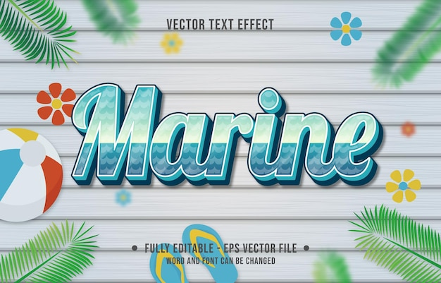 Teksteffect mariene gradiëntstijl met zomerseizoenthema-achtergrond