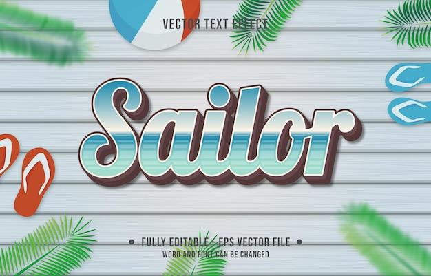 Teksteffect matroos gradiëntstijl met zomerseizoen thema-achtergrond