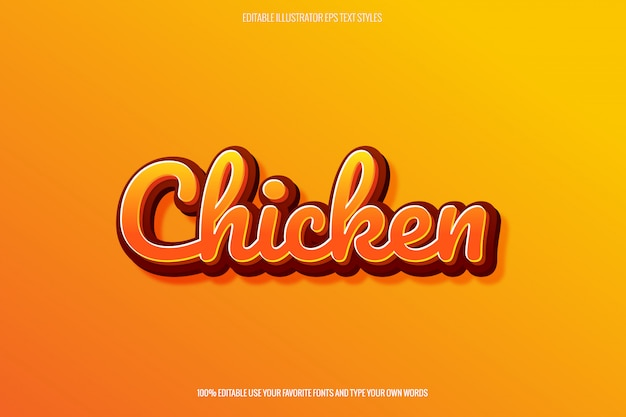 Teksteffect met fried chicken-thema voor logo-maker