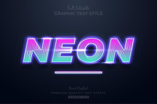 Teksteffect met neonverloop bewerkbare premium-lettertypestijl