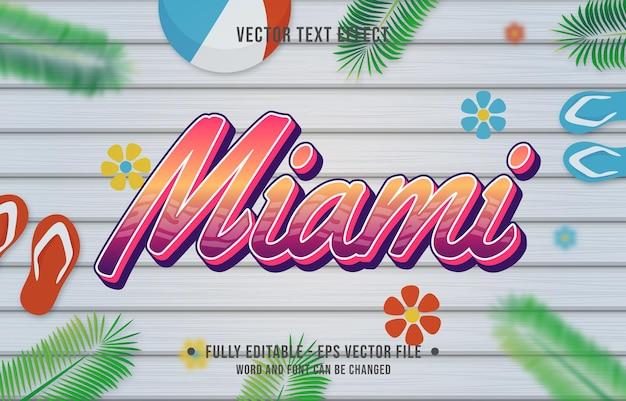 Teksteffect miami-verloopstijl met thema-achtergrond van het zomerseizoen