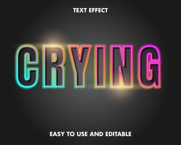 Teksteffect - neon huilen. bewerkbare lettertypestijl.
