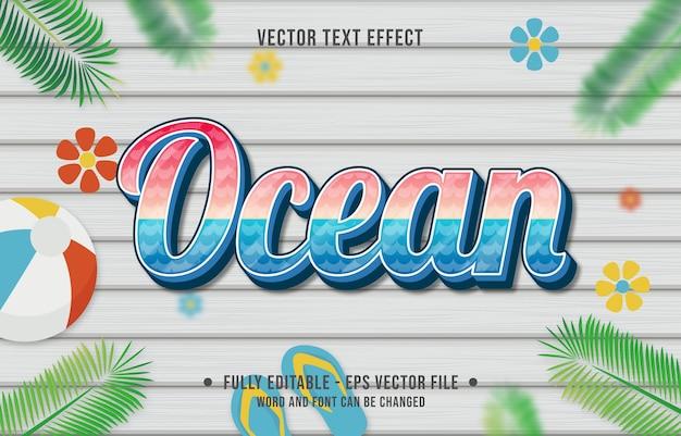 Teksteffect oceaanverloopstijl met zomerseizoenthema-achtergrond