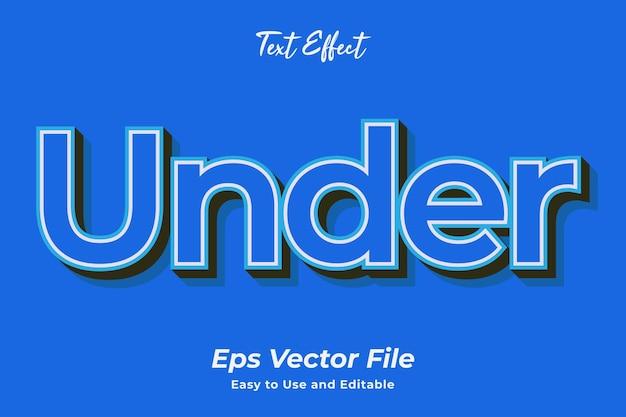 Teksteffect onder bewerkbare en gebruiksvriendelijke premium vector
