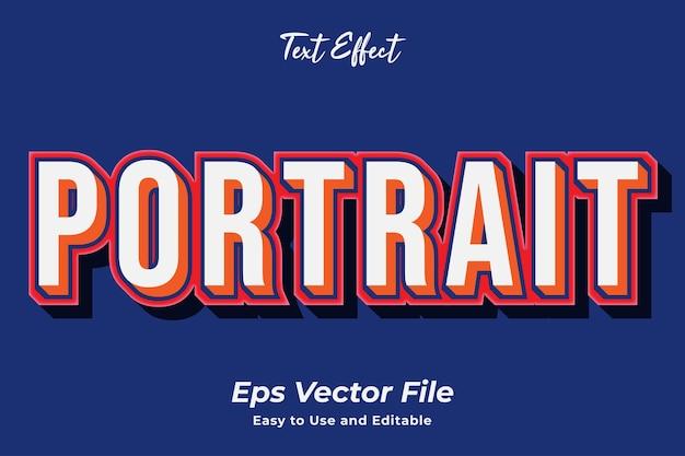 Teksteffect portret bewerkbaar en gebruiksvriendelijk premium vector