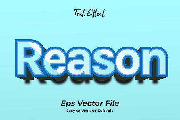 Teksteffect reden eenvoudig te gebruiken en bewerkbaar premium vector