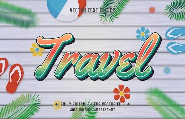 Teksteffect reisverloopstijl met zomerseizoenthema-achtergrond