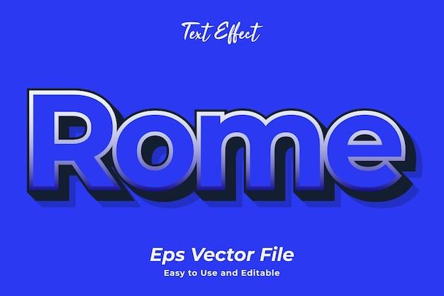 Teksteffect rome gebruiksvriendelijk en bewerkbaar premium vector