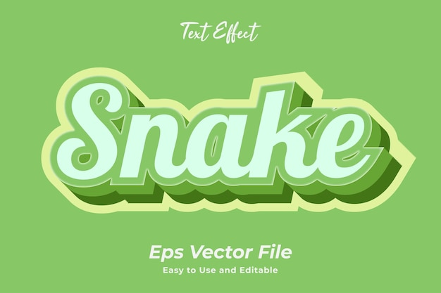 Teksteffect snake bewerkbaar en gebruiksvriendelijk premium vector