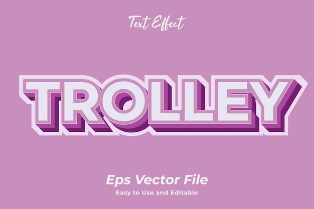 Teksteffect trolley bewerkbare en gebruiksvriendelijke premium vector