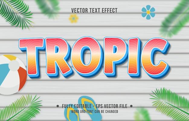 Teksteffect tropische gradiëntstijl met zomerseizoenthema-achtergrond