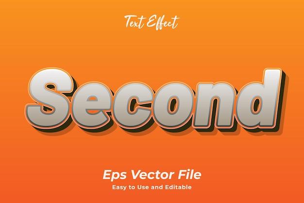 Teksteffect tweede bewerkbare en gebruiksvriendelijke premium vector
