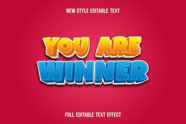 Teksteffect u bent winnaar kleur geel en blauw verloop