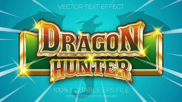 Teksteffect van drakenjager vectorillustratie