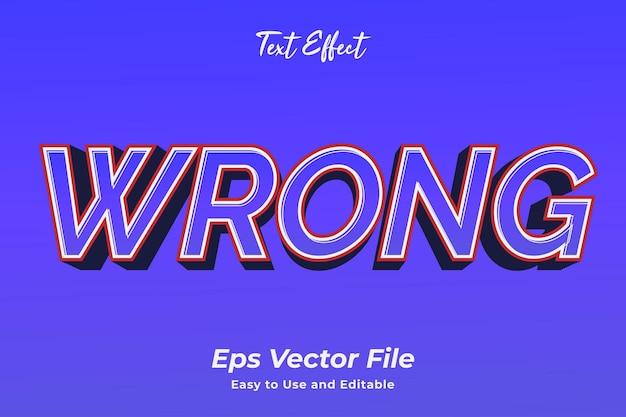 Teksteffect verkeerd gebruiksvriendelijk en bewerkbaar premium vector