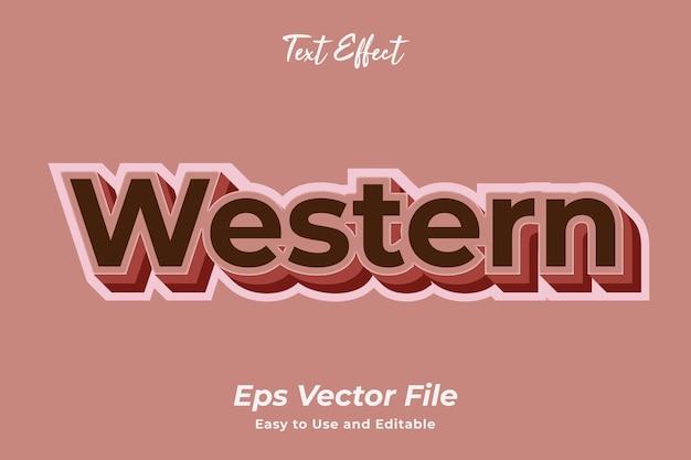 Teksteffect westers eenvoudig te gebruiken en te bewerken vector van hoge kwaliteit