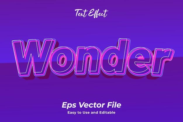 Teksteffect wonder bewerkbaar en gebruiksvriendelijk premium vector