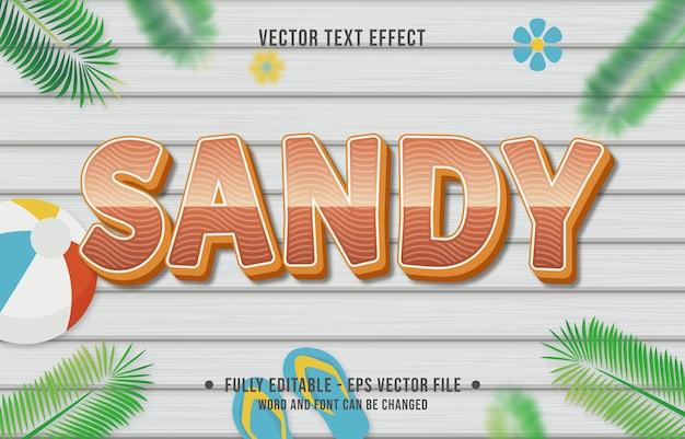 Teksteffect zandverloopstijl met zomerseizoenthema-achtergrond