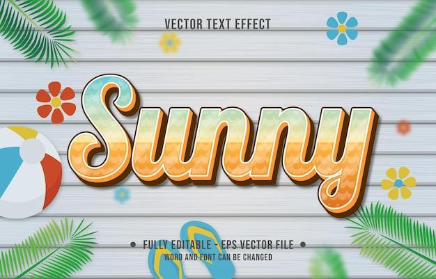 Teksteffect zonnige gradiëntstijl met thema-achtergrond van het zomerseizoen