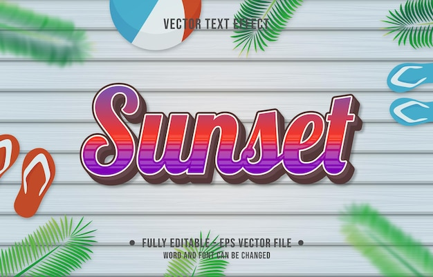 Teksteffect zonsondergang gradiëntstijl met zomerseizoen thema-achtergrond