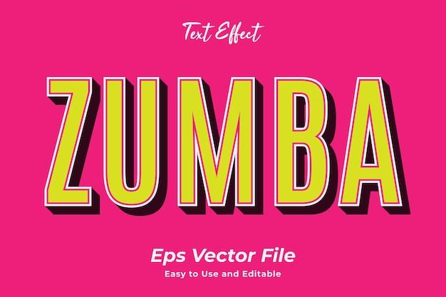 Teksteffect zumba bewerkbaar en gebruiksvriendelijk premium vector