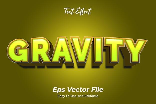 Teksteffect zwaartekracht gebruiksvriendelijk en bewerkbaar premium vector
