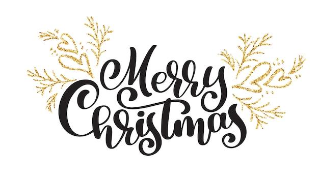 Teksten merry christmas handgeschreven kalligrafie belettering