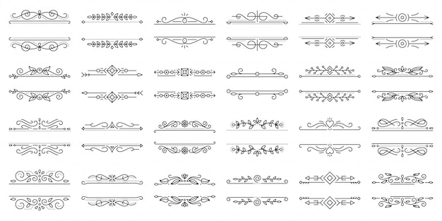 vintage kalligrafische ornamenten met abstracte lijnen