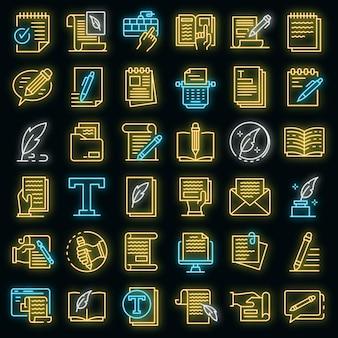 Tekstschrijver pictogrammen instellen. overzicht set van copywriter vector iconen neon kleur op zwart