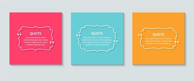 Tekstvak citeren. kleurrijke retro illustratie in lijnstijl.