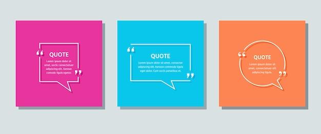 Tekstvak citeren. tekstballonnen op kleur achtergrond. citaten van sjabloonkaders. . set info-opmerkingen en berichten in tekstvakken. kleurrijke retro illustratie in lijnstijl.