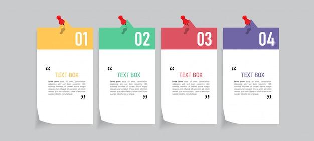 Tekstvak ontwerp met notitieblaadjes.
