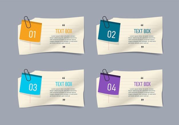 Tekstvakontwerp met infographic notitieblaadjes