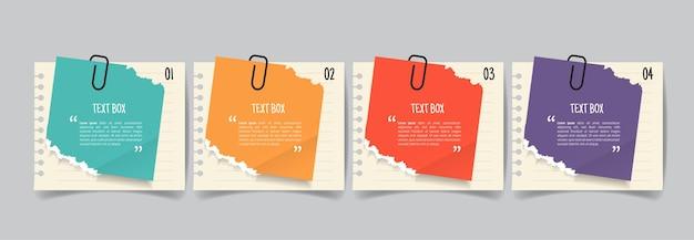 Tekstvakontwerp met notitieblaadjes