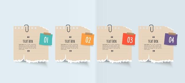 Tekstvakontwerp met notitiepapieren infographic