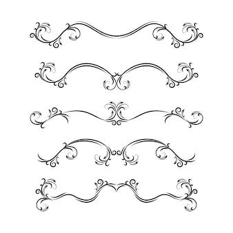 Tekstverdelers. hand getrokken verzameling van vector scheidingslijnen, bumpers, frames, ornamenten