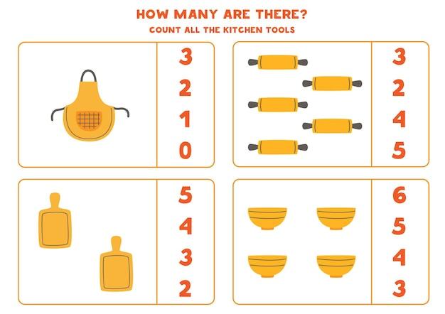 Tel al het keukengereedschap en omcirkel de juiste antwoorden. rekenspel voor kinderen.