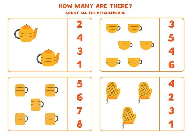 Tel al het keukengerei en omcirkel de juiste antwoorden. rekenspel voor kinderen.
