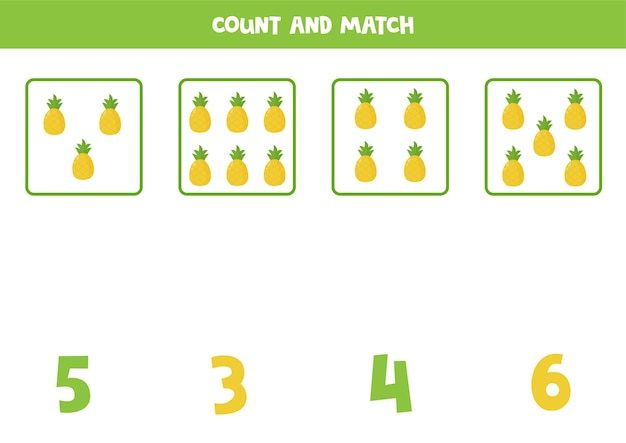 Tel alle ananas en match met het juiste antwoord. educatief rekenspel voor kinderen.