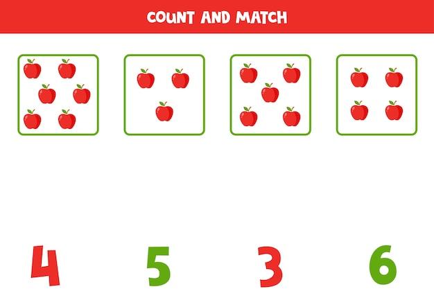 Tel alle appels en match met het juiste antwoord. educatief rekenspel voor kinderen.