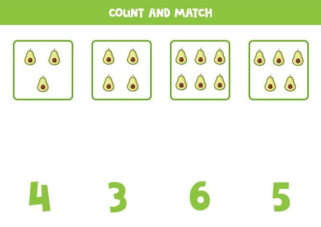 Tel alle avocado's en match met het juiste antwoord. educatief rekenspel voor kinderen.